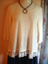 Arizona Jean Co. Knit Tunic Top L Ivory Lace Trim 3/4 Sleeves Scoop Neck Hi Low