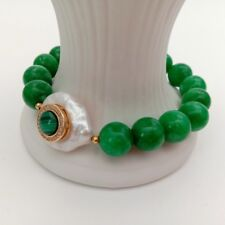 5White Coin freshwater Pearl Green Jade Cz pave Malachite Stretch Bracelet