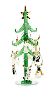 Holiday Tree Filled with Nine Puppy Dogs Wine Charms Ornament Set