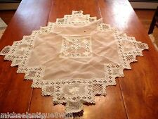 Vintage Needlepoint and Crochet Table Cloth