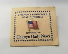 "Vintage .5""  Chicago Daily News AMERICAN FLAG PIN Pinback on card"