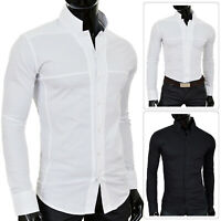 Mens Slim Fit Shirt Grandad Korean Collar Long Sleeve Formal Casual White Black