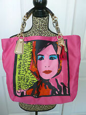 Coach Shoulder Bag - Kristin Photo Print Girl XL Tote - Hot Pink - 14396 - Tag