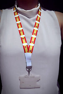 Spain Lanyard with metal clip - ideal for ID badges - 80cm x 2cm - Spanish