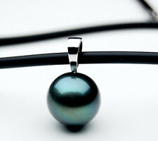 $799 Pacific Pearls®  13.5mm Tahitian Pearl Pendant 18K White Gold