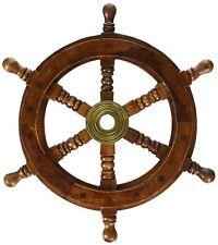 Wooden Ship Steering Wheel Boat Nautical Room Wall Pirate Decor Beach Wood Brass