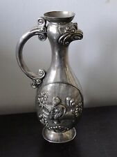 Oriental/ Asian Sterling Silver Jug Chased Top Quality Unmarked C1800, Pheonix