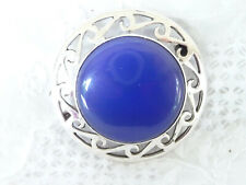 Vintage Celtic Scottish St Silver Blue Chalcedony Brooch 1977 Derek Wakeling