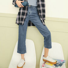 Casual Straight Female Denim Pants - Blue