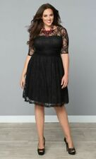 Kiyonna Women's Dress Black Lace Luna Style Party Cocktail Illusion Yoke Made US
