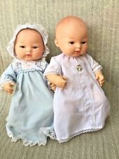 "Vintage Vinyl Rubber Doll NEWBORN Lifelike Baby Real Reborn TWINS SET Marked 12"""