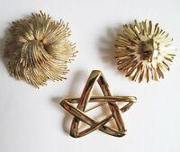 Vintage Monet Gold Tone Cordelia Star Pins Brooches (Three)