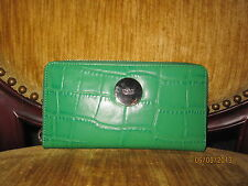 DKNY Croc Embossed Green Leather Zip Clutch Wallet NWT