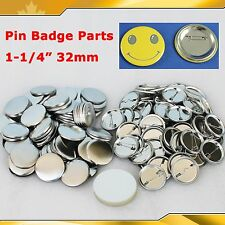 "Diy 100Sets 1-1/4"" 32mm Pin Badge Button Parts Supplies for Pro Maker Machine"