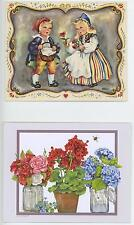 VINTAGE SWEDEN CHILD COSTUME ANISE SEED COOKIE RECIPE ART PRINT & 1 FLOWER CARD