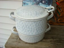 Antique Enamelware Chicken Wire Rare Pattern Double Boiler Steamer Pot 3 pc