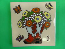 """Ceramic Art Tile 6""""x6"""" Western vase cowboy boots flowers ranch rustic trivet H15"""