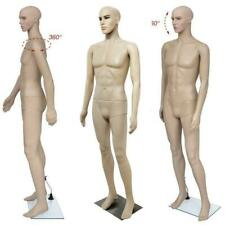 Male Mannequin Full Body Pe Realistic Display Head Turns Form With Base Us Ship