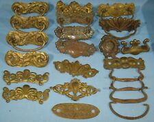 """LOT of ANTIQUE STAMPED BRASS & CAST METAL DRAWER PULLS/HARDWARE """"AS IS"""""""