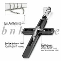 Men's Stainless Steel Double Crucifix Interlocking Cross Pendant Necklace Chain
