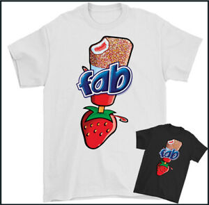 FAB Ice Lolly T-Shirt Retro Funny Ice Cream Strawberry Flavour Tee Top
