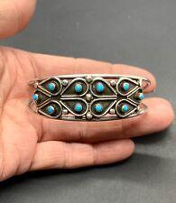 Point Snake Eye Turquoise Cuff Bracelet Vtg Signed Zuni Sterling Silver Petit