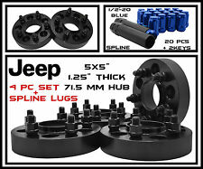 "4 Pc Black Wheel Spacers Jeep Wrangler JK 5x5 |1.25"" Thick