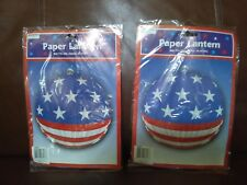 Patriotic Stars and Stripes Paper Lantern Decoration Set of Two