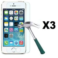LOT OF 3 CLEAR TEMPERED GLASS SCREEN PROTECTOR FOR APPLE IPHONE 5/5S
