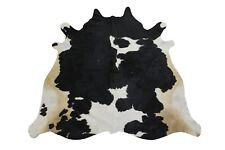 Natural Cowhide Rug Black and White 5x6 ft Real Cow Skin Hair on Leather Pattern