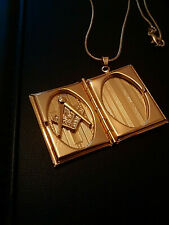 Masonic Gold Plated CHRISTMAS SALE  The Volume of the Sacred Law + G.P.Chain