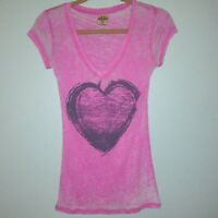 Well Worn LA Women's Burnout T Shirt Large Pink Heart