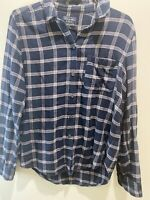 Abercrombie & Fitch Blue Navy Flannel Button Up Shirt Soft Size Small S