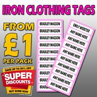 BLACK IRON ON Personalised Name School Labels Stickers Kids Uniform Clothes Tags