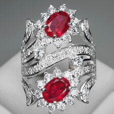 SUPERB! RED RUBY MAIN STONE 2PCS/2.4CT. & WHITE SAPP 925 SILVER RING SIZE 6.25