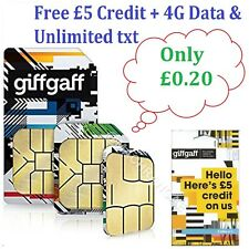 Giffgaff Pay As You Go SIM With £5 Free Credit + 4G Data & Unlimited txt