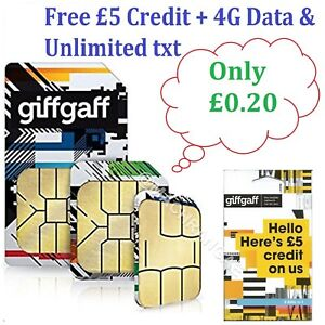 2×Giff Gaff Giffgaff Pay As You Go SIM With £5 Free Credit+4G Data &Unlimted txt