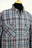 mens blue red plaid DULUTH TRADING CO trim fit casual dress shirt cotton XL TALL
