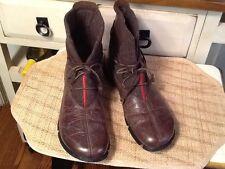 ECCO Damen sz-11m braun Leder Stiefelette Schuh Wolle Red Stripe Detail Vintage