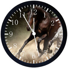 Beautiful Horse Black Frame Wall Clock Nice For Decor or Gifts E376