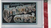 vintage Linen Large Letter Greetings from Atlantic City New Jersey