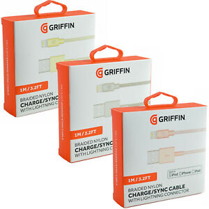 Griffin MFi Certified iPhone/iPod/iPad Lightning USB Data Sync Charger Cable New