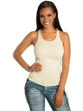 """Women's Ribbed """"RACERBACK"""" Tank Tops Stretch Long Workout Fitness Sport Yoga"""