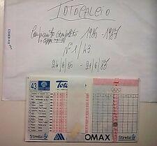 SCHEDINE TOTOCALCIO-CAMPIONATO COMPLETO DA 1 A 43 DEL 1986/87 MANCA LA N.21