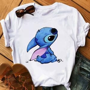 Lilo and Stitch Disney Movie T-Shirts Lovely Cartoon Stitch Ohana White Shirt