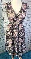 Monsoon fit n flare Summer Dress Grey Pink Yellow Floral Birds Size 12 Frill D39