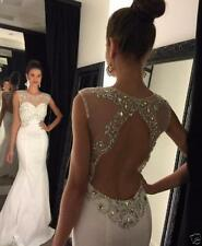 2018 White Long Mermaid Evening Dresses Ball Party Prom Formal Gowns custom size
