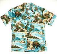 Vtg 80s Blue Hawaii Big Scene Aquamarine Hawaiian Shirt Sz S/M Slim Top Tier