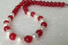 """7-8mm Natural White Akoya Cultured Pearl/Red Jade Gemstones necklace 18""""AAA"""