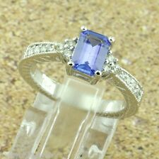 14k Solid White Gold Natural Diamond & AAA Emerald Cut Tanzanite Ring 1.10 ct